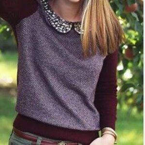 J. Crew Burgundy Herringbone Jewel-Collar Sweater